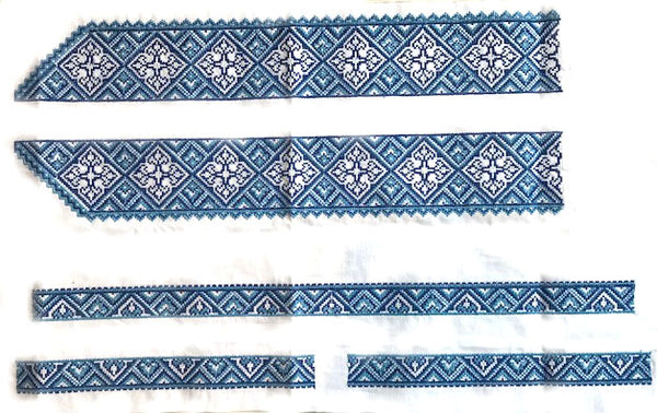 Blue Embroidery Panels for Men's Shirt.