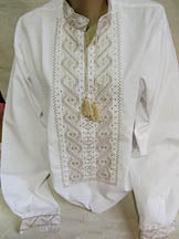 Mens White Linen Machine Embroidered Shirt