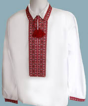Mens Machine Embroidered Red/Black Shirt