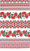Poppy Bands Embroidery Waffle Towel