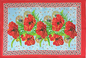 Poppy Design Towel in red