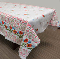 Cotton linen-look Poppy Tablecloth 59x87 in.