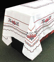 Copy of Embroidered Tablecloth Red/Black (83 x 56 in.)