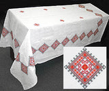 Linen Machine-Embroidered Tablecloth (geometric) 54 x 73 in