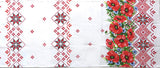 Long Red Poppy & Star Waffle Towel