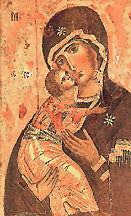 Volodymyrska Virgin Mary Icon, 3 x 4 in
