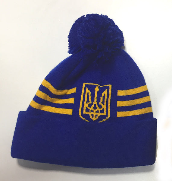 Blue Knit Cap with Tryzub, Stripes