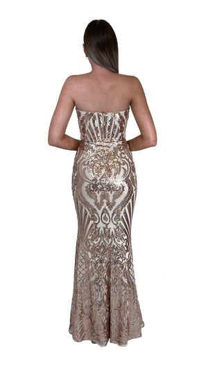 Bariano Erma Sweetheart Sequin gown bronze gold back