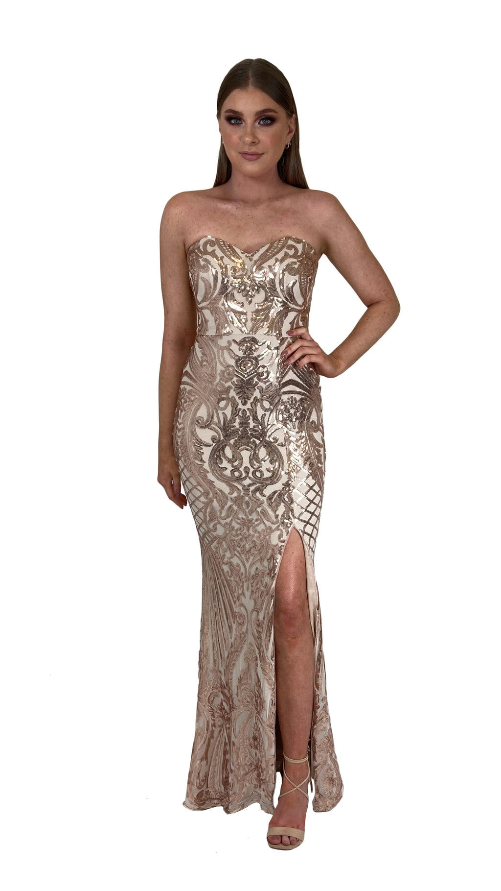 Bariano Erma Sweetheart Sequin gown bronze gold
