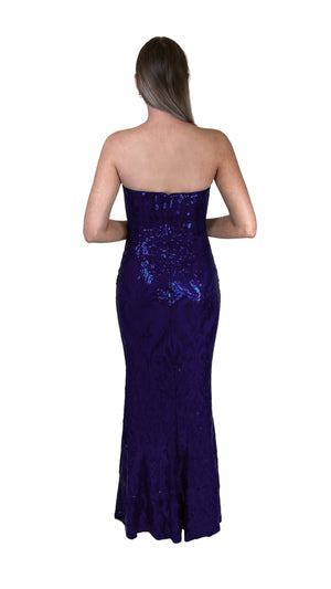 Bariano Erma Sweetheart Sequin gown navy back
