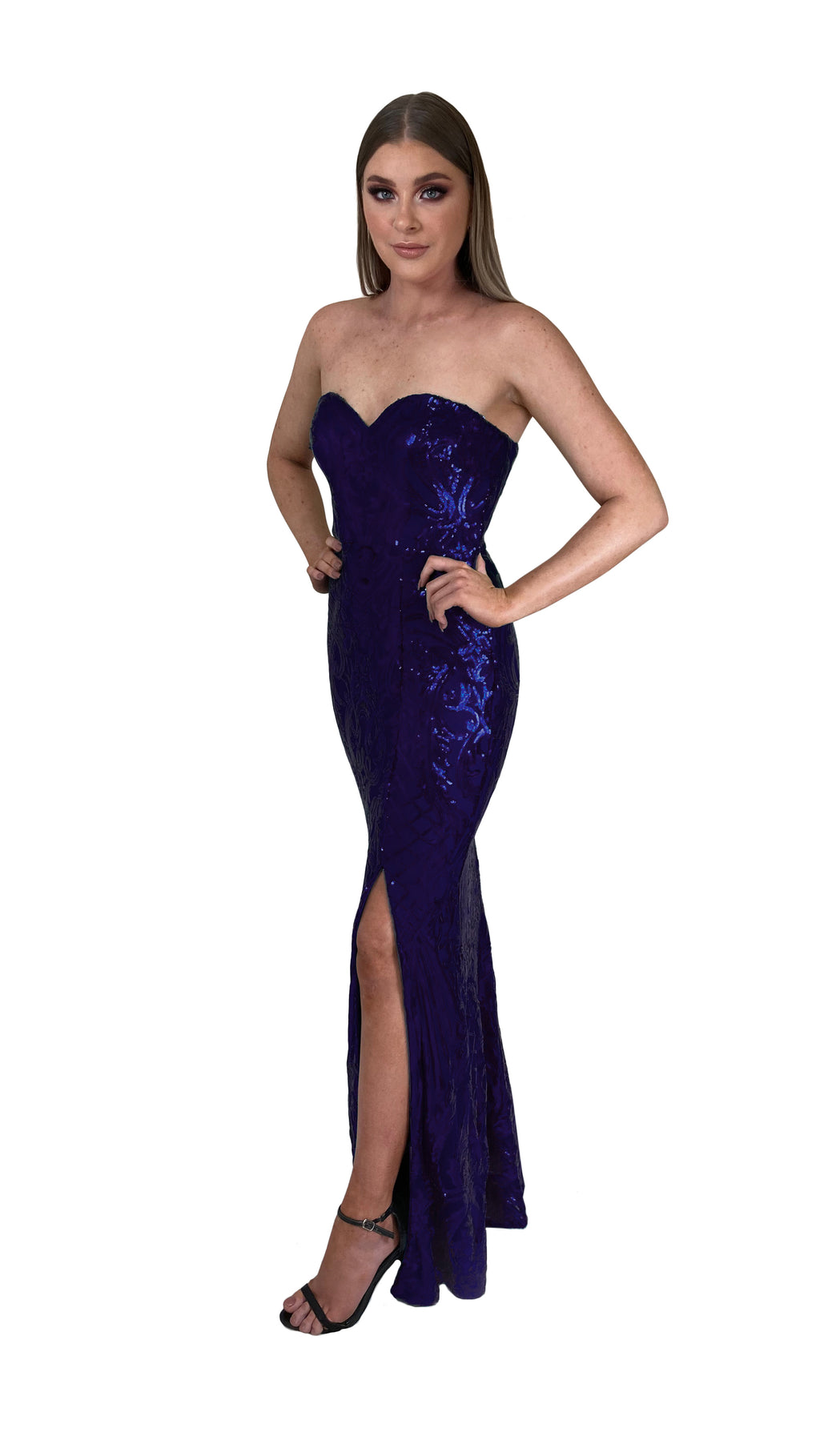 Bariano Erma Sweetheart Sequin gown navy