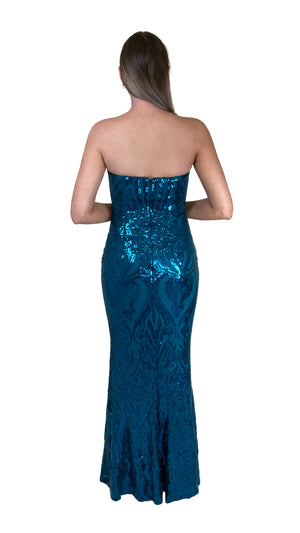 Bariano Erma Sweetheart Sequin gown teal back