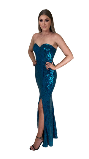 Bariano Erma Sweetheart Sequin gown teal