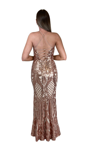 Bariano Collette Scoop Neck Pattern Sequin dress Bronze Gold back