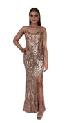 Bariano Collette Scoop Neck Pattern Sequin dress Bronze Gold