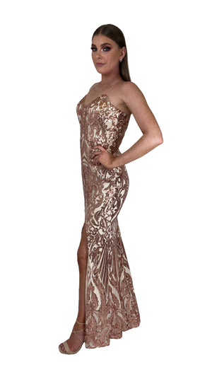 Bariano Collette Scoop Neck Pattern Sequin dress Bronze Gold side
