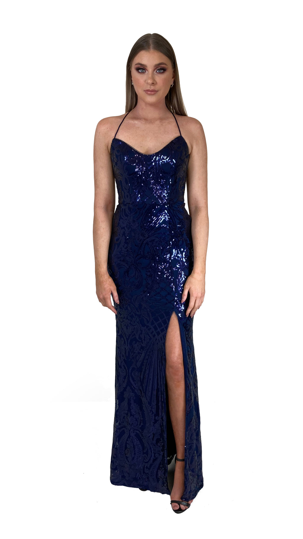 Bariano Collette Scoop Neck Pattern Sequin dress Navy front