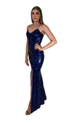 Bariano Collette Scoop Neck Pattern Sequin dress Navy side