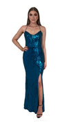 Bariano Collette Scoop Neck Pattern Sequin dress Teal front