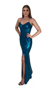Bariano Collette Scoop Neck Pattern Sequin dress Teal side
