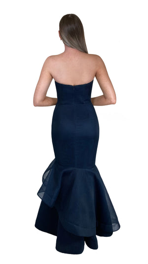 Bariano Emma Sweetheart Tiered hem dress in Navy Mesh Back