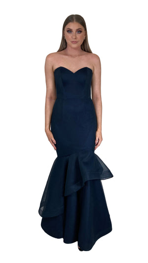 Bariano Emma Sweetheart Tiered hem dress in Navy Mesh
