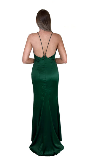 Bariano Nora V Neck Emerald Satin Gown back