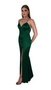 Bariano Nora V Neck Emerald Satin Gown