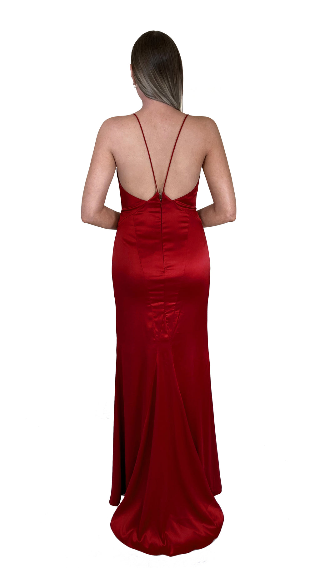 Bariano Nora V Neck Red Satin Gown back