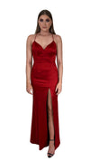 Bariano Nora V Neck Red Satin Gown