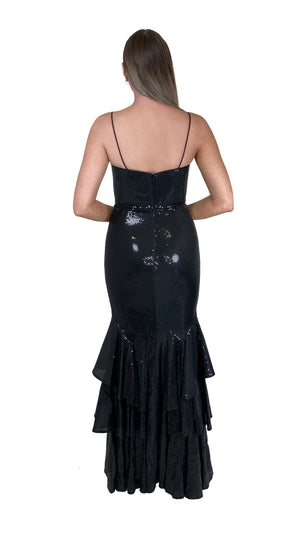 Bariano Lexee Jersey Sequin Gown black back