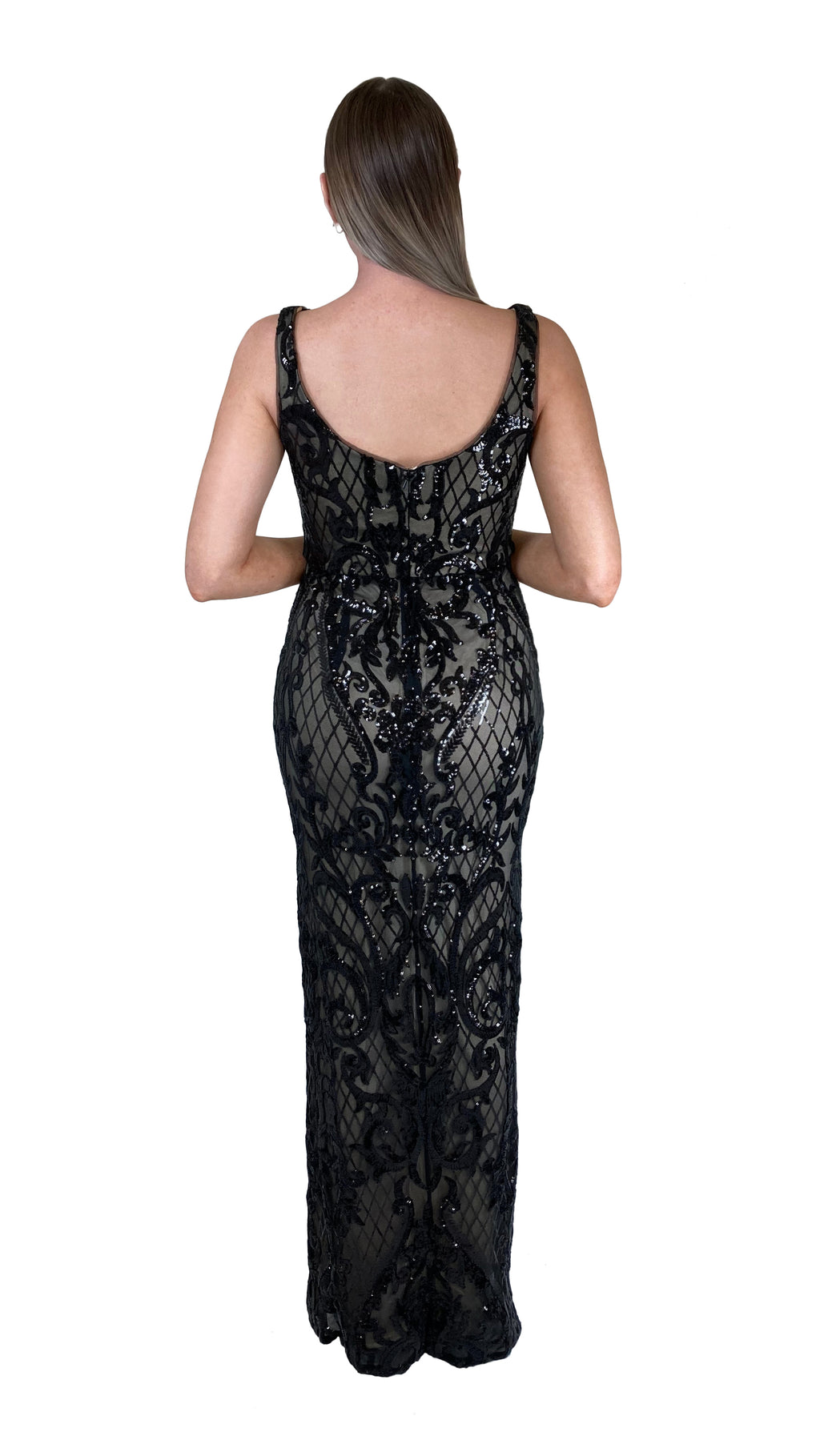 Bariano Dianne Scoop Pattern Sequin Gown Black & Nude sequin back