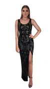 Bariano Dianne Scoop Pattern Sequin Gown Black & Nude sequin