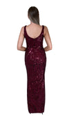 Bariano Dianne Scoop Pattern Sequin Gown Wine back