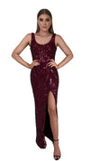 Bariano Dianne Scoop Pattern Sequin Gown Wine