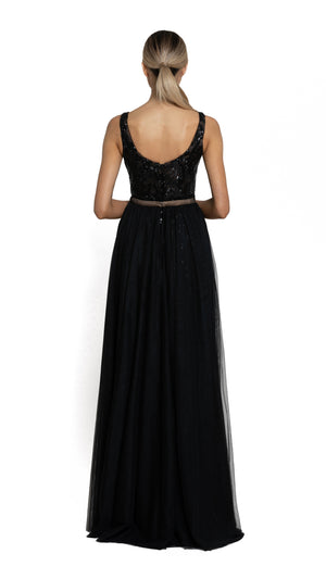 Bariano Dianne Scoop Pattern Sequin Gown with Detachable Skirt black with nude back