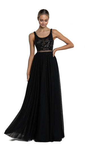 Bariano Dianne Scoop Pattern Sequin Gown with Detachable Skirt black with nude