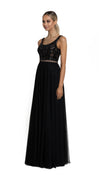 Bariano Dianne Scoop Pattern Sequin Gown with Detachable Skirt black with nude side