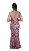 Bariano Grace V Neck Pattern Sequin gown Pink back