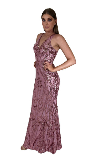 Bariano Grace V Neck Pattern Sequin gown Pink