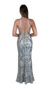 Bariano Grace V Neck Pattern Sequin gown silver back