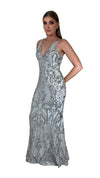Bariano Grace V Neck Pattern Sequin gown silver