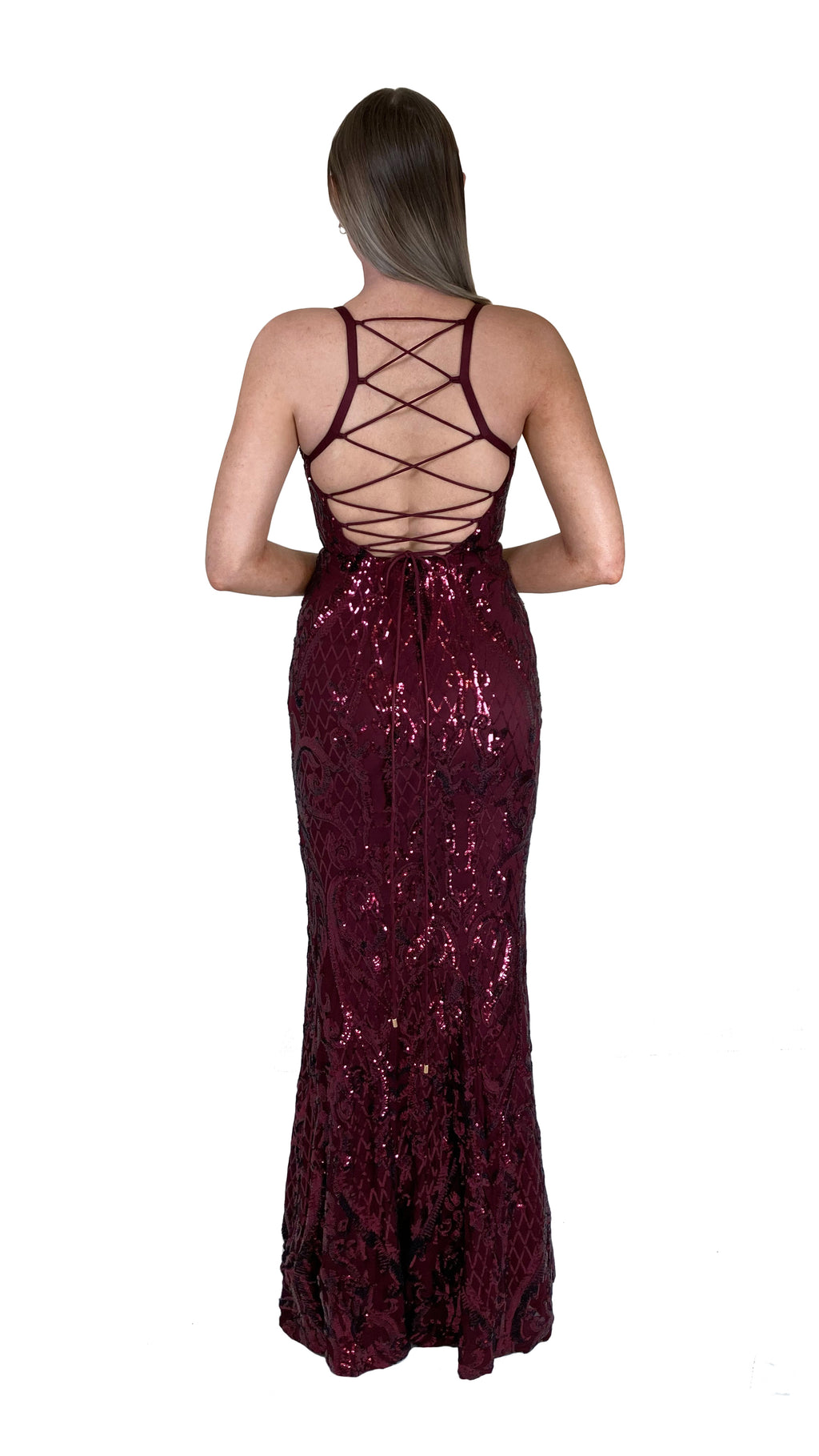 Bariano Grace V Neck Pattern Sequin gown wine back