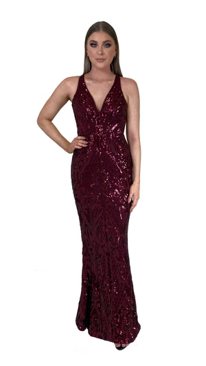 Bariano Grace V Neck Pattern Sequin gown wine