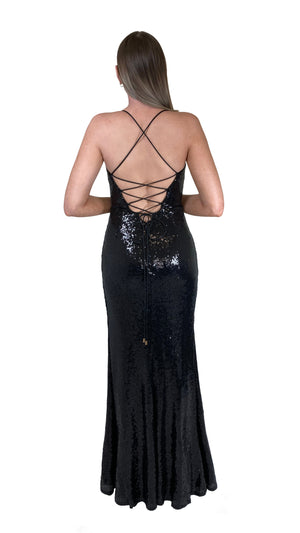 Bariano Alexandrite Wrap sequin gown with front split black back