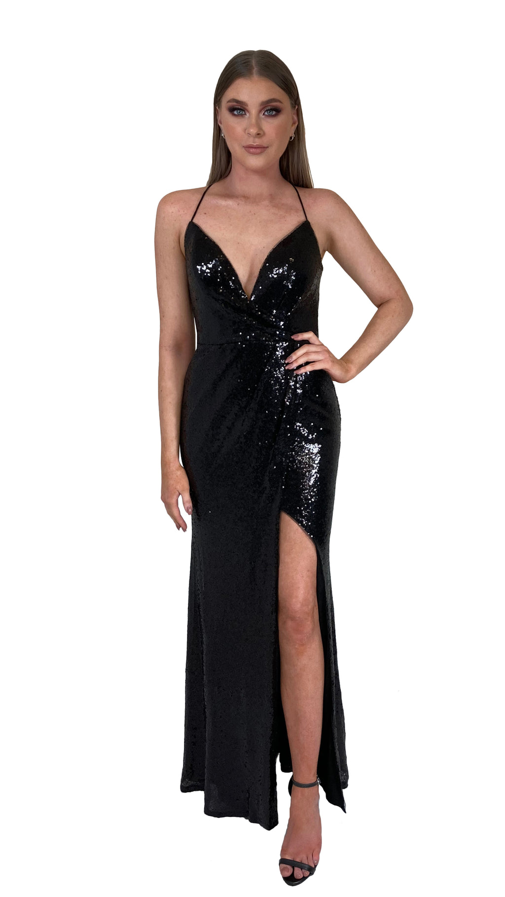 Bariano Alexandrite Wrap sequin gown with front split black