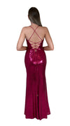 Bariano Alexandrite Wrap sequin gown with front split pink back