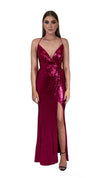 Bariano Alexandrite Wrap sequin gown with front split pink