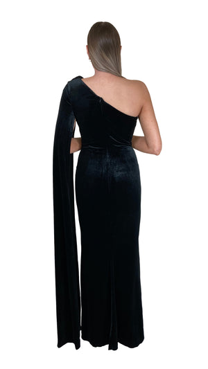 Bariano Celeste One Shoulder Velvet cape gown black back