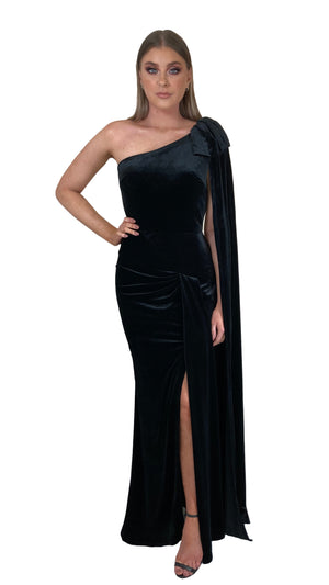 Bariano Celeste One Shoulder Velvet cape gown black